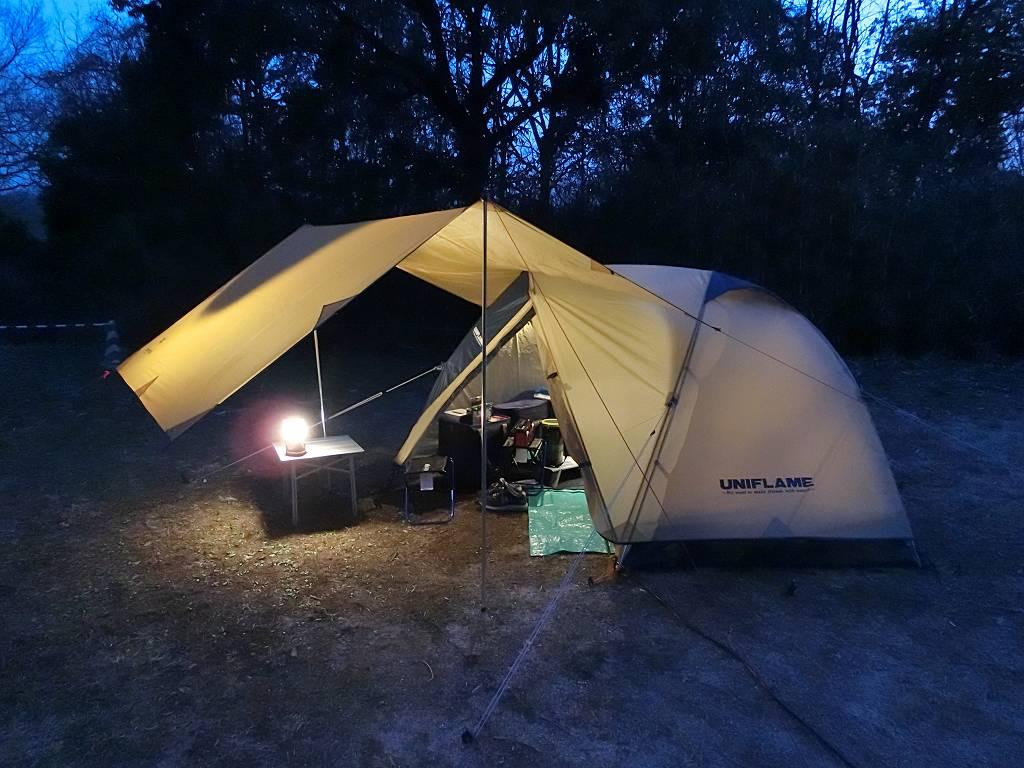 夜のテントとタープ_1_180324