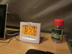 朝のテント内の気温_181224