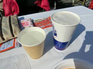 白水お湯割りと生ビール_190202