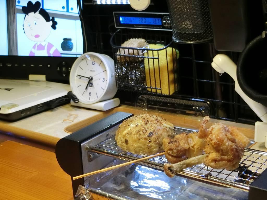 焼鳥器で惣菜を温める_2_190210