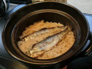 土鍋で炊飯したあまごめし_190317