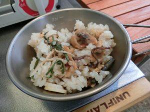 炊飯した山菜あさりご飯_190804
