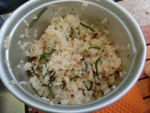 炊飯した山菜あさりご飯_2_190804