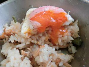 半熟卵とあさりご飯_190804